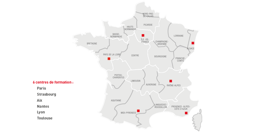 carte France centre de formation Mitsubishi Electric