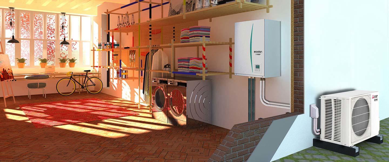 Credit Impot Chauffage Reversible ecodan hydrobox réversible - 9 à 16 kw